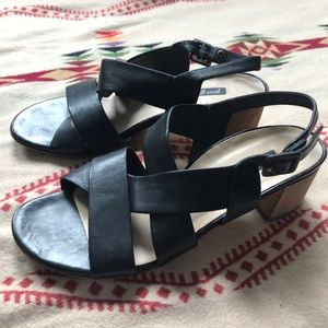 Paul Green black leather strappy block heels 7